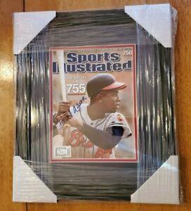 Hank Aaron Signed Sports Illustrated Magazine Custom Framed No Label JSA COA