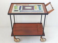 Serving bar Wheelchair 1960 Vintage Teak Brass & Ceramic of Ocara 60S 60'S