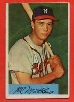 1954 Bowman #64 Eddie Mathews VG-VGEX WRINKLE HOF Milwaukee Braves FREE SHIPPING