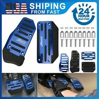 Blue Automatic Car Anti slip Metal Pedal Pad Brake Gas Foot Rest Pedals Covers A