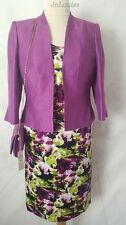Jacques Vert Dress Jacket & Bag ~ Size 14 ~ Purple Wedding Mother Of The Bride
