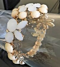 Gold Cream Stone White Opal Crystal STRETCH Cocktail Bracelet By Rocks Boutique