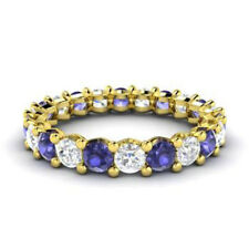 2.03 Ct Ceartified Real Diamond Tanzanite Band 14K Yellow Gold Rings Size 5 6 7