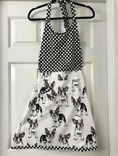 NWT French Bulldog Boston polka dot black and white apron