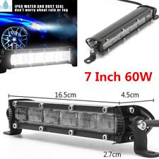 1Pcs 7 Inch 60W Single Row LED Work Light Bar Offroad SUV Driving Fog Lamp
