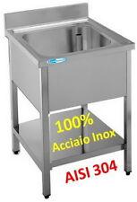 Lavello cm 80x60x85  in Acciaio Inox Professionale Lavatoio 1 Vasca + Ripiano