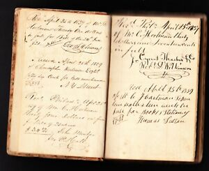 HANDWRITTEN RECEIPT BOOK (LEDGER) CANTON, + PHILADELPHIA, PA.1839-1844 /HARTMAN