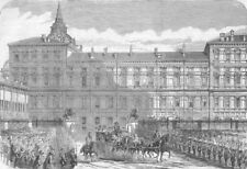 ITALY. Second war of independence. King's Palace, Torino, antique print, 1859