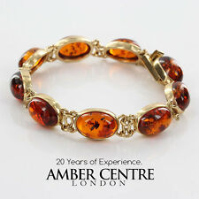 ITALIAN MADE UNIQUE  SMALL BALTIC AMBER BRACELET IN 9CT GOLD -GBR130  RRP£850!!!