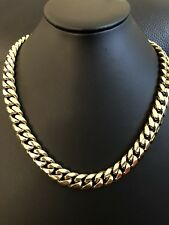 "Men's Cuban Miami Link 20"" Choker Chain 14k Gold Over Stainless Steel 12mm 136g"