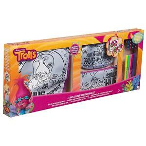 6 x TROLLS Colour Your Own Bag Set WHOLESALE/JOB LOT Childen Kids Toy Bag