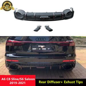 S6 Black Rear Diffuser Spoiler Muffler Pipes for Audi A6 C8 Sline Saloon 2019-21