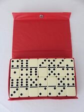 Vintage Domino by Cardinal 28 Domino Package in Red Vinyl Carrying Case