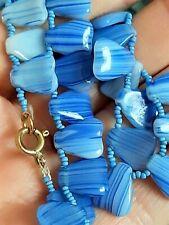 "Glass Necklace/Choker 13"" Vintage Blue Murano"