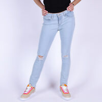 Levi's 711 Skinny Ripped Knees Blau Damen stretch Jeans 28/30