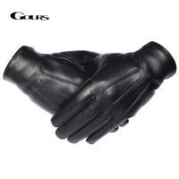 GOURS Winter Gloves Men Genuine Leather GSM050 Mittens Driving Warm Black