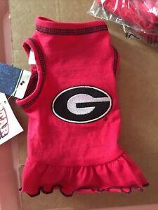 University Georgia Bulldogs NCAA Cheerleader Girl Red Dress / Dog Cat / Sz Tiny