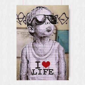 BANKSY I LOVE LIFE BOY STREET GRAFFITI POSTER ARTIST IMAGE ART PRINT-A3 A4 SIZE