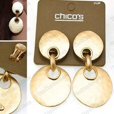 CHICO's 6cm big CLIP ON EARRINGS discs MATT GOLD TONE 60s style vintage RETRO