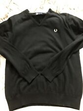 fred perry Sweater V Neck Black Size Large Mint
