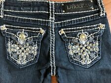 LA IDOL JEANS CROP CAPRI SKINNY SLIM ANIMAL BLING FLAP POCKETS SIZE 1 - 26 X 12