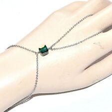 Chaîne de main bracelet bague acier inoxydable cube cristal vert bijou