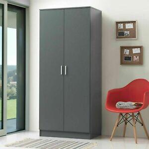 Grey 2 Door Double Wardrobe Storage Cupboard Bedroom Furniture    BTAD