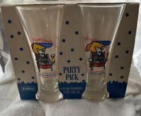 4 NEW NOS 1987 Budweiser Spuds Mackenzie Bar Pilsner Beer Glasses NRFB NIB LIBBY