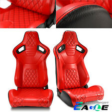 Jdm Pair Red Leather Rear Black Carbon Fiber Sport Racing Seats Leftampright