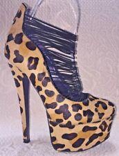 London Trash Women 7.5 Cheetah Calf Hair Platform Heel Stiletto Shoe Steampunk