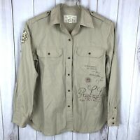 Ralph Lauren collared Button Down Shirt Patch Safari top large lg L