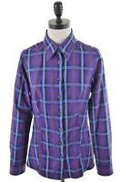 BENETTON Womens Shirt Size 12 Medium Purple Glen Check Cotton  FU12
