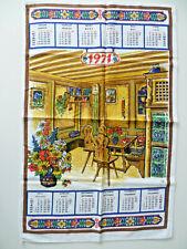 Original 70er Jahre Geschirrtuch 1971 Kalender Küchentuch Stoffkalender VINTAGE