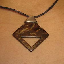 Necklace Gianni Liverani coconut shell & silver plated Zama alloy Diamond New!