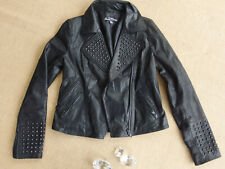 JUST JEANS GENUINE LEATHER Black Studded Biker Style Women's Jacket Size 10