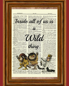 Where The Wild Things Are Dictionary Art Print Poster Book Maurice Sendak