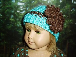 """Aqua Crochet Beanie Hat with Brown Flower Fits American Girl 18"""" Doll Clothes"""