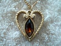 """Avon"" Heart Pendant, Gold Tone Metal, Faceted  Topaz Acrylic Stone"