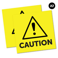 2 x Caution Yellow Sticker Decal Safety Sign Car Vinyl #5456K