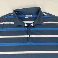 Nike Golf Tour Performance Polo Shirt Men's 2XL Gray Blue White Striped DRI-FIT