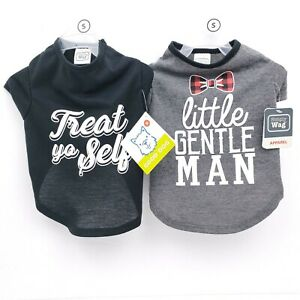 Simply Wag Pet Dog Apparel Little Gentle Man/Treat Yo Self Size S Dog Shirt Lot