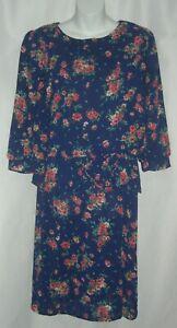 Vintage 80's Miss Oops California Floral Peplum Dress Blue Flower Prairie VTG 14