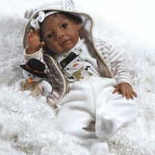 African American Realistic Girl Baby Doll Black Hair Reborn Infant Weighted 20In
