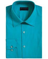 Alfani Mens Dress Shirt Blue Size Medium M 15-15 1/2 Slim Fit Stretch $60 #246