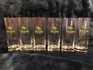 Libbey Glass Mojito Tall Glasses Barware - Set of Six (6) 10oz glasses