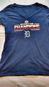 Detroit Tigers Women Shirt 2012  ALCS T-shirt V-Neck Size L, Blue