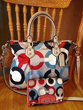 Coach RARE Ashley Op Art Satchel Crossbody bag F23904 & Free Wallet $506