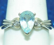BLUE TOPAZ SOLITAIRE & DIAMOND ACCENTS RING SOLID 10 KW GOLD 3.1 g SIZE 10