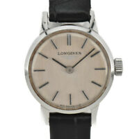 LONGINES Silver Dial SS/Leather Hand Winding Ladies Watch i#95581