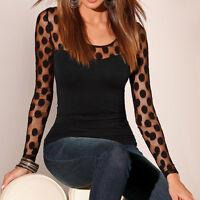 New Fashion Women Long Sleeve Shirt Casual Lace Blouse Tops T Shirt - PLUS SIZE